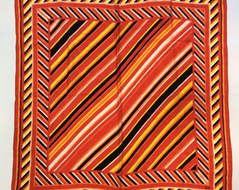 Vintage 1960s Honey Japanese Silk Red Orange Yellow Black Diagonal Striped Oversized Silk Scarf