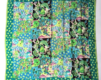 Vintage 1970s Green Spring Impressionist Lilly Pulitzer-like Oversized Silk Scarf by Honey/Artistic/Lovely/Spring She Is Sprung