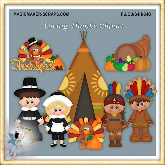 Thanksgiving Clipart Giving Thanks Etsy