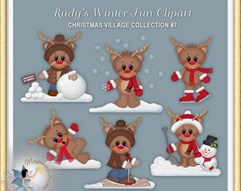 Reindeer, Winter, Snow, Christmas Clipart