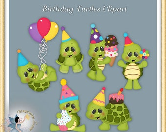Birthday Turtle Clipart, Party