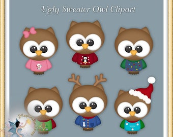 Christmas Clipart, Ugly Sweater Owl