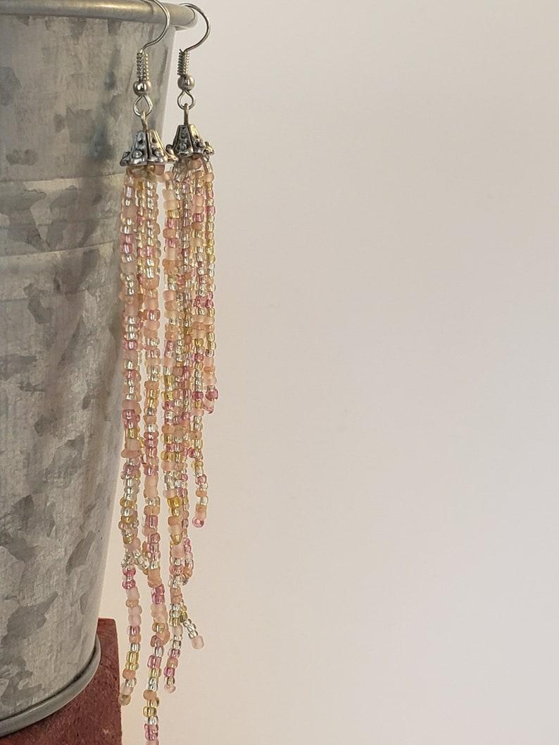 Seed bead tassel earrings Gift for her Long Tassel Earrings Handmade