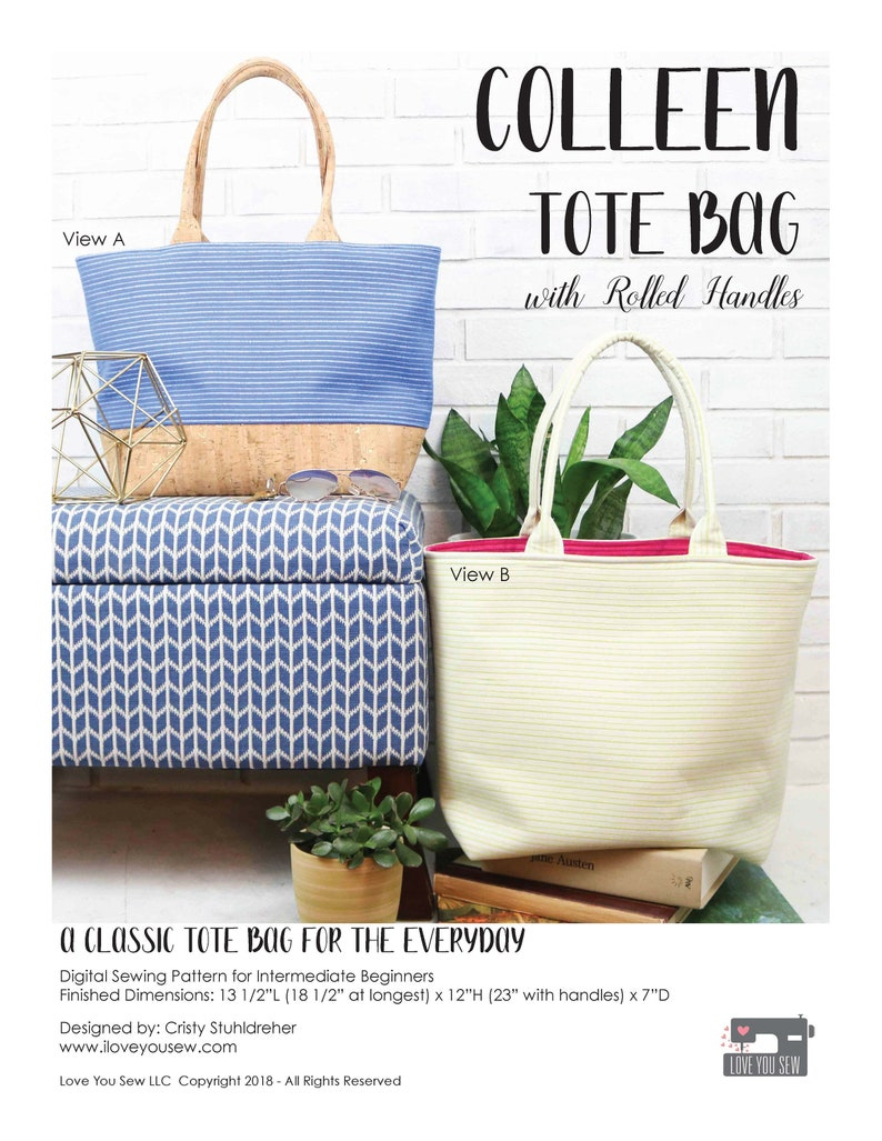 Digital PDF Pattern: Colleen Tote Bag by Love You Sew  DIY  image 0