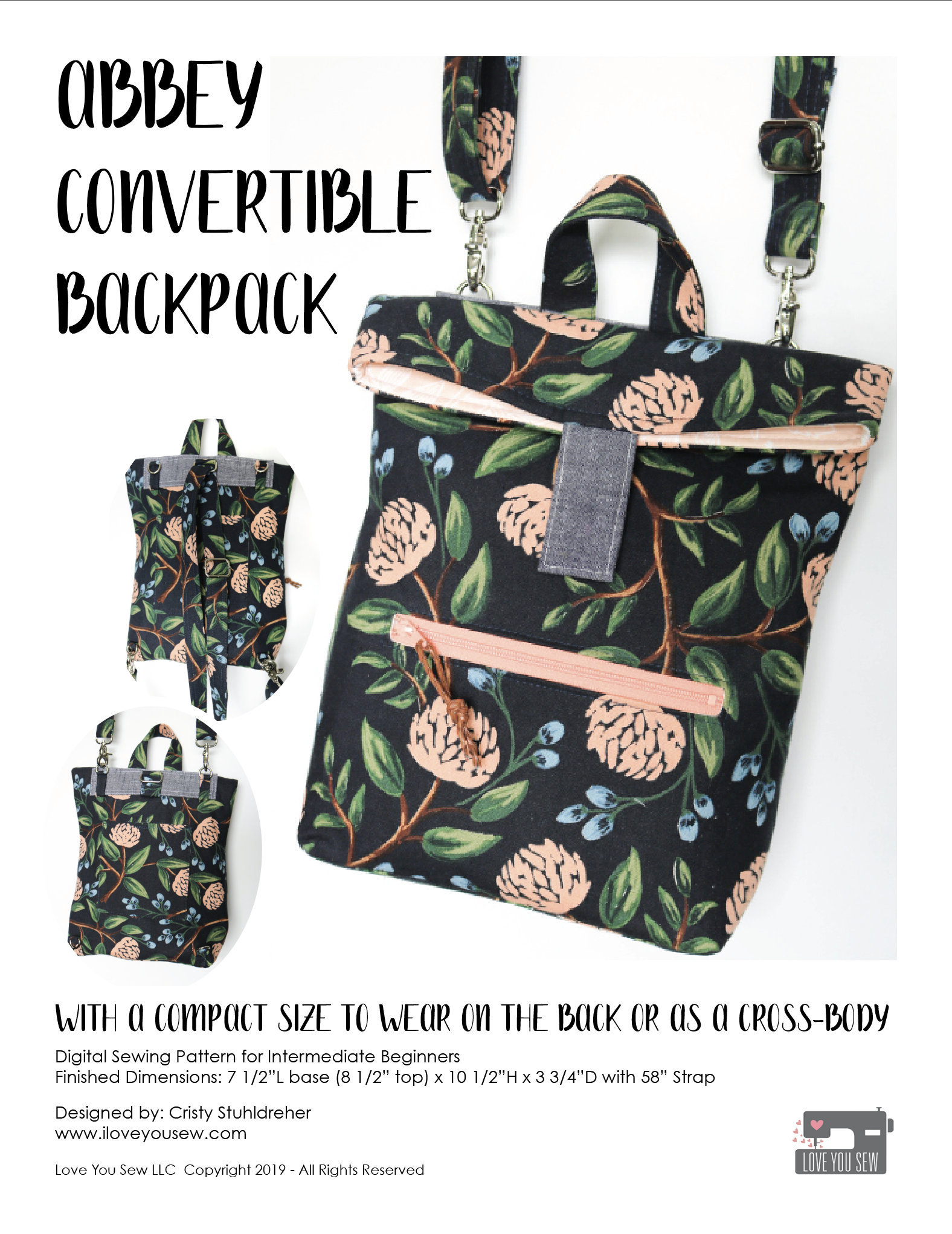 Sewing Pattern Convertible Backpack