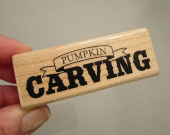 PUMPKIN CARVING Rubber Stamp, Fall Stamp, holiday stamp, Fall outing stamp, arts and crafts supply, arts supply, scrapbooking, gift for mom