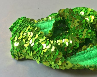 GREEN SEQUIN TRIM, Lime green trim, stretchy sequin trim, narrow sequin trim, light green sequin trim, costume trim, sew in trim, mermaid
