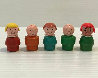 LITTLE PEOPLE CHILDREN, Wood Little People, Wood Body Little People, Little People girl, Little People boy, girl with red hair, bald boy