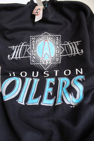 HOUSTON OILERS Sweatshirt,1992 Vintage Black Sweatshirt, Vintage Houston Oilers NFL Long Sleeve Sweatshirt, Men's xl shirt, new with tags
