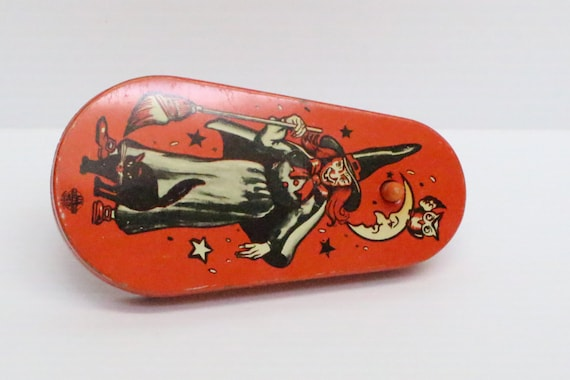 vintage halloween noisemaker toy orange and black with witch etsy