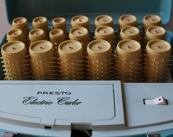 PRESTO ELECTRIC CURLERS, Vintage Electric curlers, Vintage roller set, Curlers in working condition, curlers with mirror, vintage prop