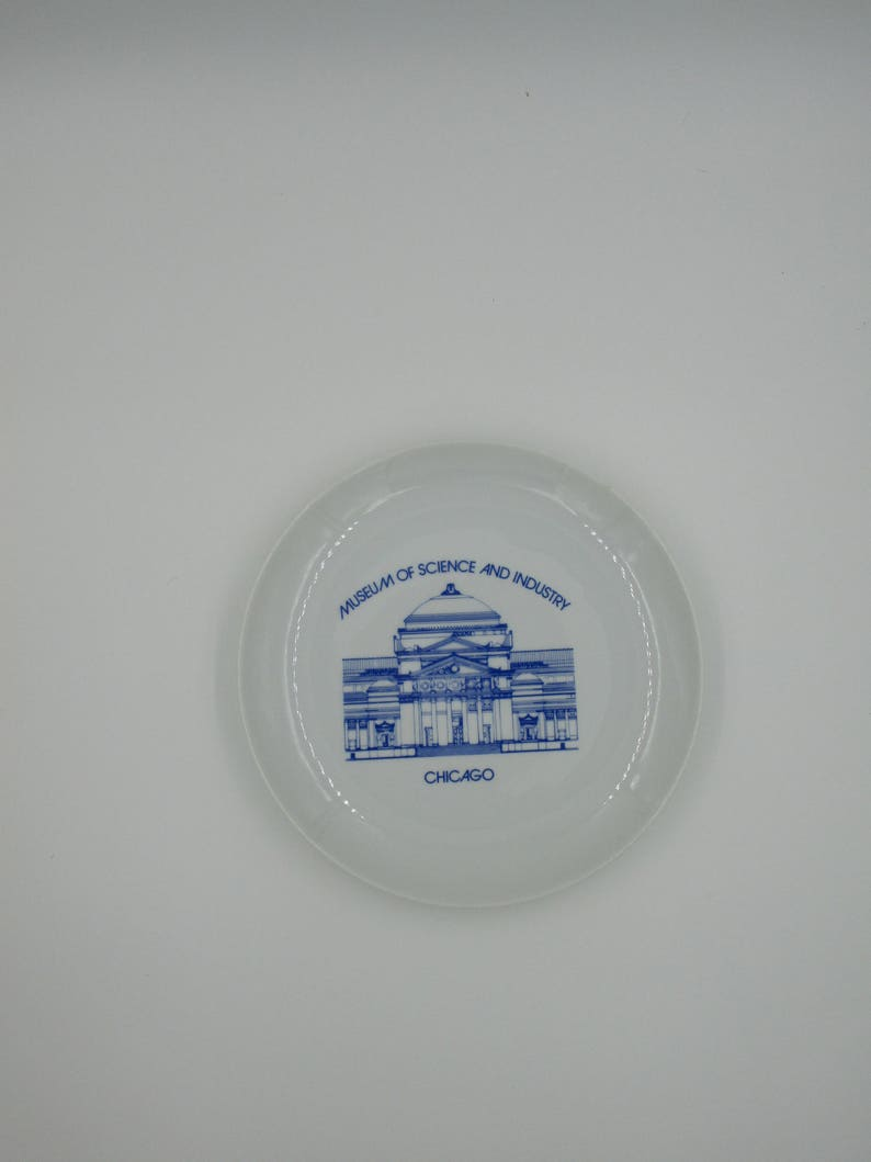 keepsake plate Chicago souvenir plate retro souvenir vintage souvenir plate museum plate Museum of Science and Industry Chicago plate
