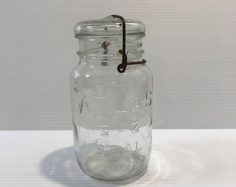 ATLAS EZ SEAL Jar, Vintage glass jar, glass jar with metal bail closure, glass jar with lid, unique glass jar, Collectible Glass Jars, gift