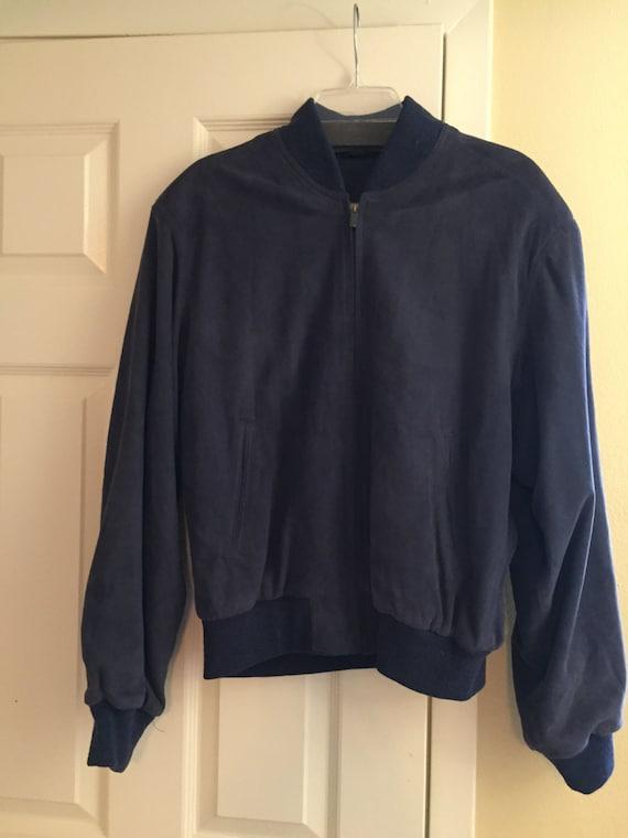 VINTAGE LEATHER JACKET, Vintage Suede Jacket, blue