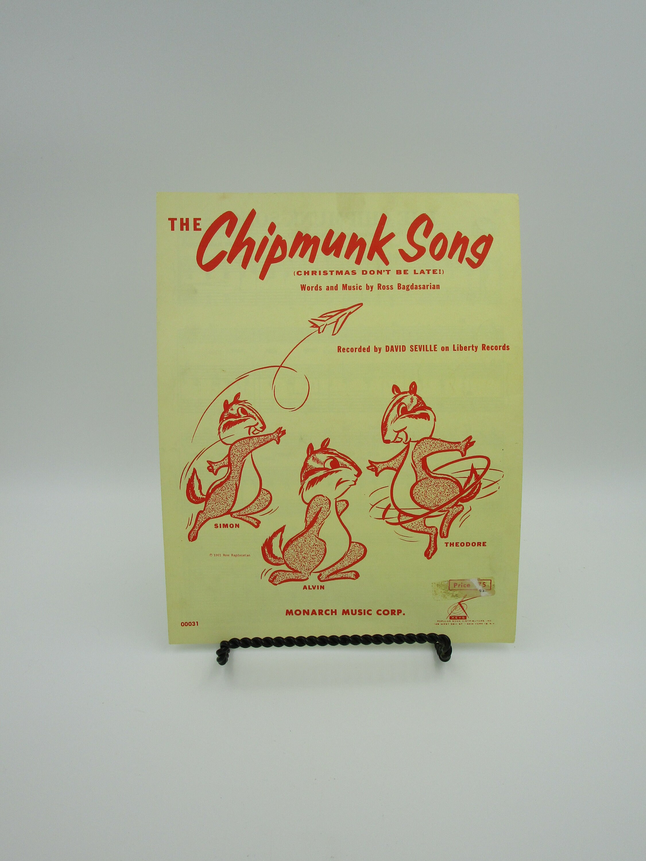 The Chipmunk Song SHEET MUSIC Chipmunk Song music Christmas   Etsy