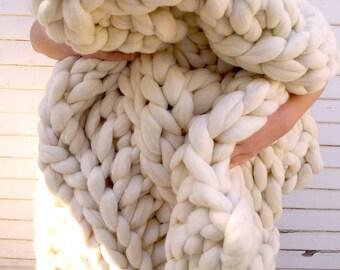 "Chunky Knit  Blanket, 40""x 60"", Knit Merino Blanket, Super Chunky Knit, Giant Knit, Extreme Knitting, Super Chunky Knit Blanket, Bulky Throw"