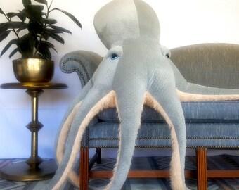 Giant Octopus Plush, Sea Creature Stuffed Animal, Ocean Life Soft Sculpture, Octopus Nursery Decor, Nautical Marine Animal