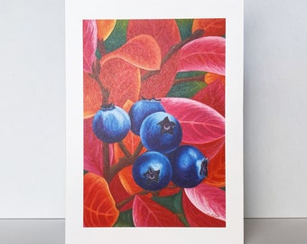 """Red and Blue Blueberry Greeting Card, """"Autumn Blueberries""""~Watercolor Blueberry Painting by Mary Michola Fibich, Maine Landscape Card"""