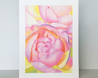 Pale Pink Cottage Rose Blank Greeting Card~Rosa 'Queen of Sweden' Floral Watercolor by Mary Michola Fibich, Mother's Day, Wedding, Valentine