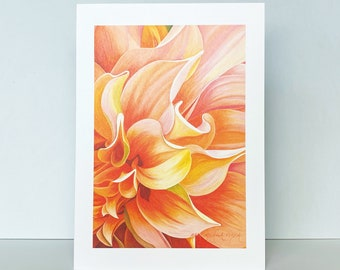 Peach and Orange Dahlia Greeting Card, Dahlia 'Ben Huston' Floral Watercolor by Mary Michola Fibich, Blank Greeting Card, Flower Stationary