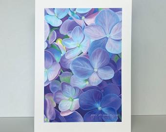 Purple Hydrangea Greeting Card~Hydrangea macrophylla 'Nikko Blue' Watercolor by Mary Michola Fibich, Blank Greeting Card~Flower Stationary