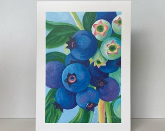 """Blueberry Greeting Card, Blank Card~""""Summer Blueberries""""~Watercolor Blueberry Painting by Mary Michola Fibich, Blueberry Stationary"""