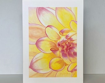 Yellow and Pink Dahlia Greeting Card, Dahlia 'Happy Go Lucky' Floral Watercolor Painting by Mary Michola Fibich, Blank Floral Greeting Card