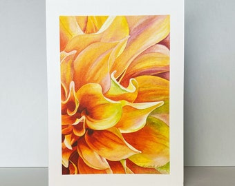 Orange Dahlia Greeting Card~Dahlia 'Ben Huston' Floral Watercolor by Mary Michola Fibich, Mother's Day Card