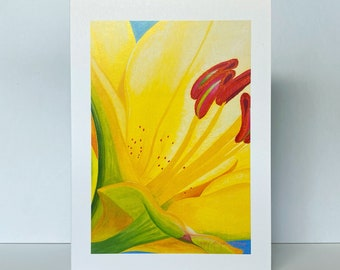 Yellow Lily Greeting Card~Lilium 'Dreamland' Floral Watercolor by Mary Michola Fibich, Macro Floral Card, Cheerful Greeting, Blank Floral