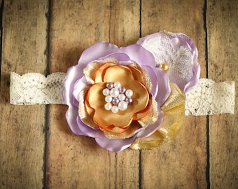 Lavender and Gold Satin Flower Headband