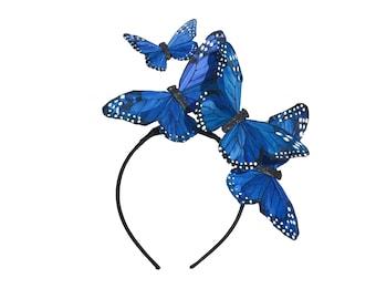 """Die """"Mariposa"""" - blau oder Türkis Glitter Feder Stirnband Fascinator Pin-up Burleske BOHO Böhmische Braut etwas Schmetterling Blau"""