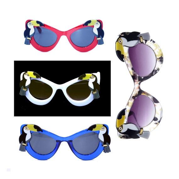 Lunettes de soleil Tropical Toucan Tiki Pinup (fr) Cadres de lunettes de soleil florales jaunes, rouges, bleues, blanches rétro (fr) Perroquet,