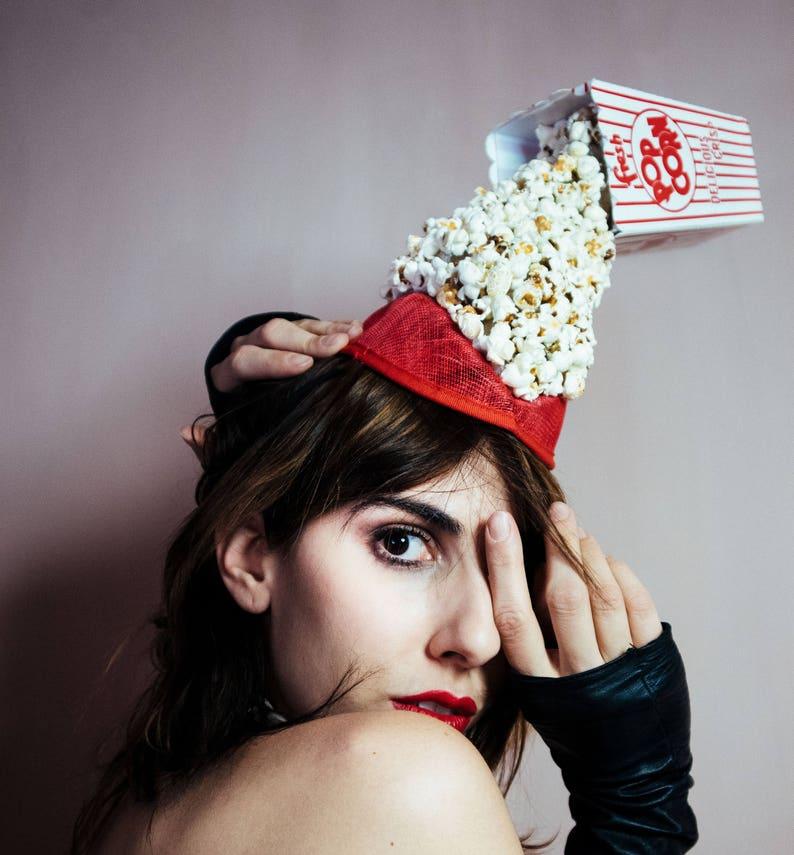 1f3fc9250f4 Spilled Popcorn Red Costume Fascinator Headpiece Hat Stripes