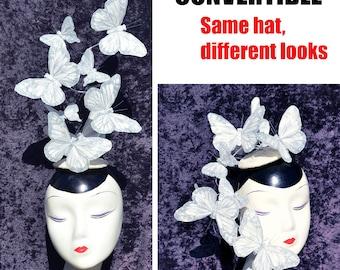 Getragen, nach oben oder unten - weiß & Silber Glitter Feder Schmetterling Fascinator Hut Hatinator Kopfschmuck-BOHO böhmischen Wald Ostern Pin-up Burlesque