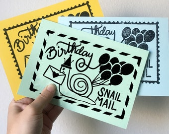 Birthday Snail Mail Rubber Stamp Download