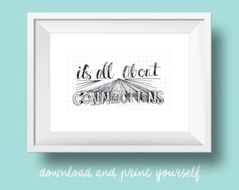 It's All About Connections  | hand-lettered watercolor inspirational quote art printable