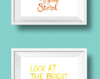 bright side of getting started hand-lettered watercolor print set
