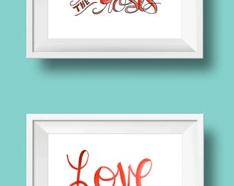 love & roses hand-lettered watercolor print set