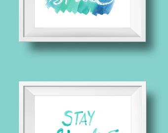 smile & stay simple hand-lettered watercolor print set