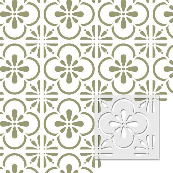 Pared stencil marroquí Reutilizable Azulejo T0058 para Decoración de pared muebles piso Craft