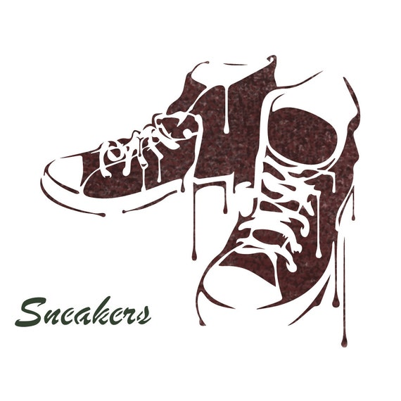 Sneakers Stencil Reusable Template For DIY Crafts And Wall