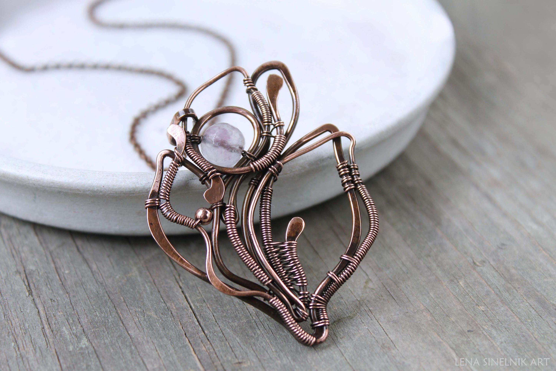 Fluorite pendant Wire wrapped Gemstone pendant Wire wrap