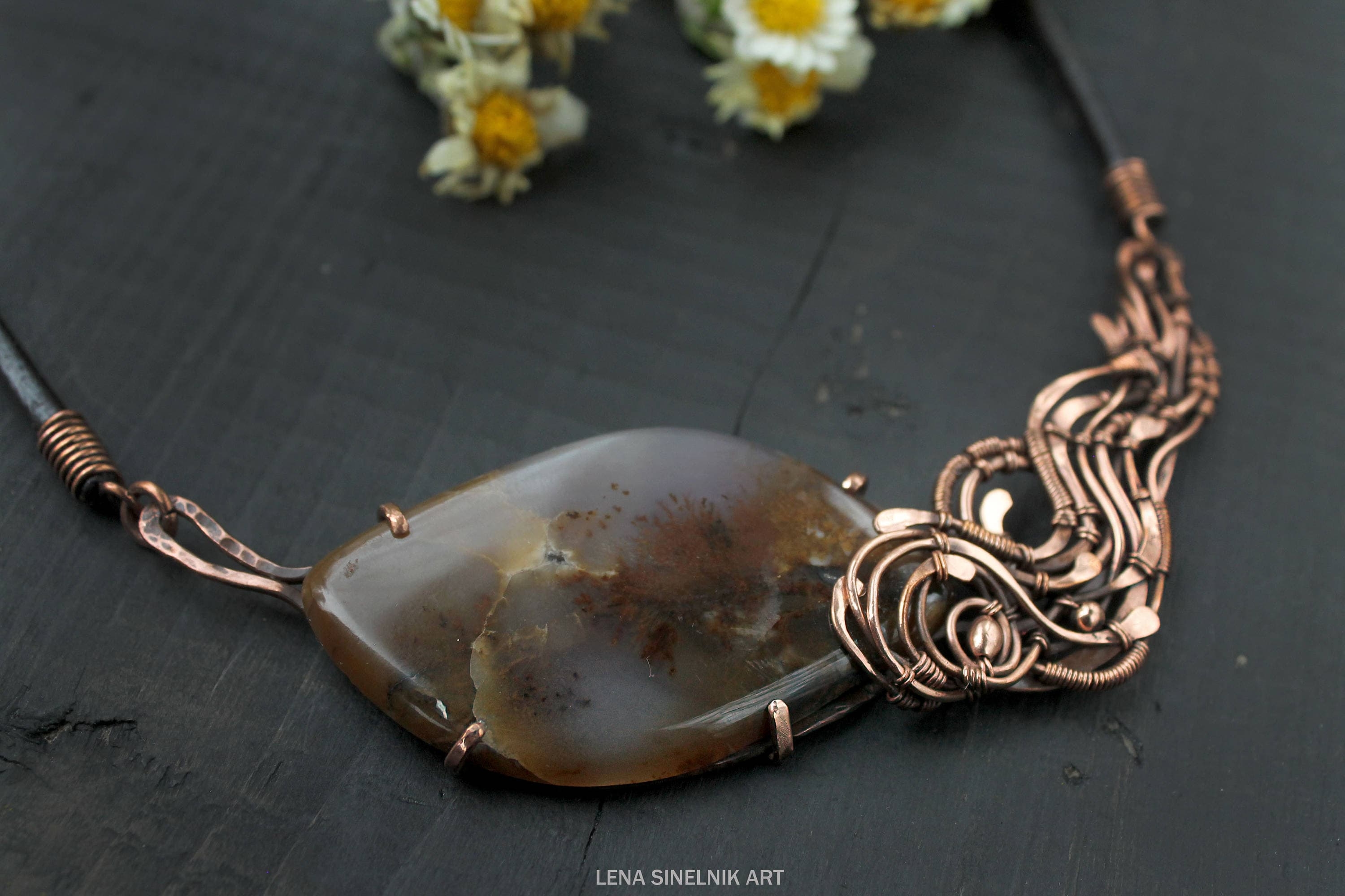 Wire wrapped necklace Wire wrapped jewelry Agate handmade