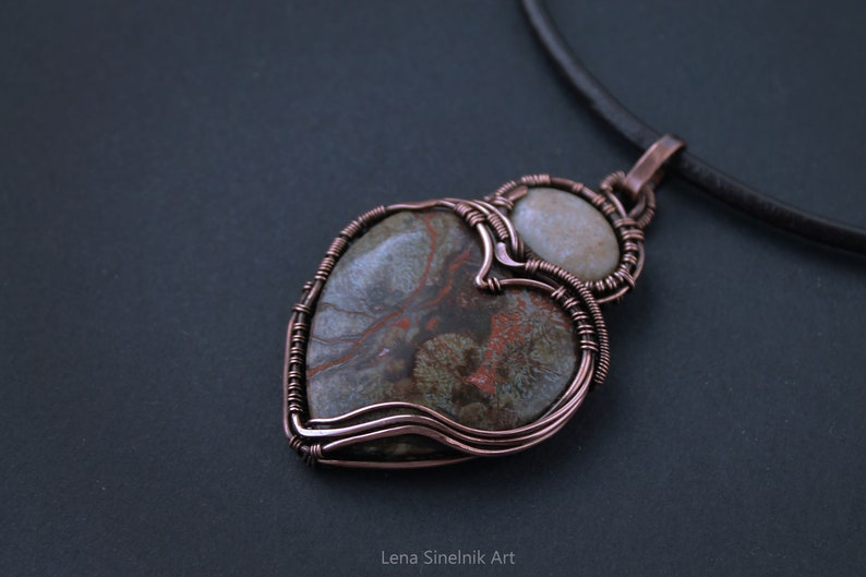 Wire wrapped jewelry   Heart Agate pendant Wire wrapped pendant Big stone pendant Copper necklace Boho necklace Christmas gift Mother gift