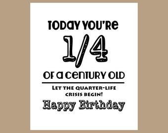 25th Birthday Card 1 4 Century Old Milestone 1983 Funny Friend 25 Years