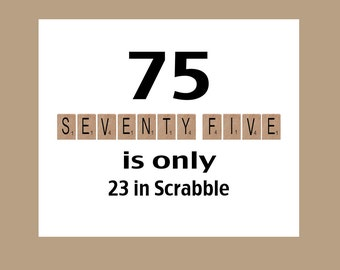 75th Birthday Card 1943 Milestone Scrabble 75 Dad