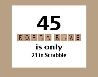 45th Birthday Card 45 Scrabble 1973