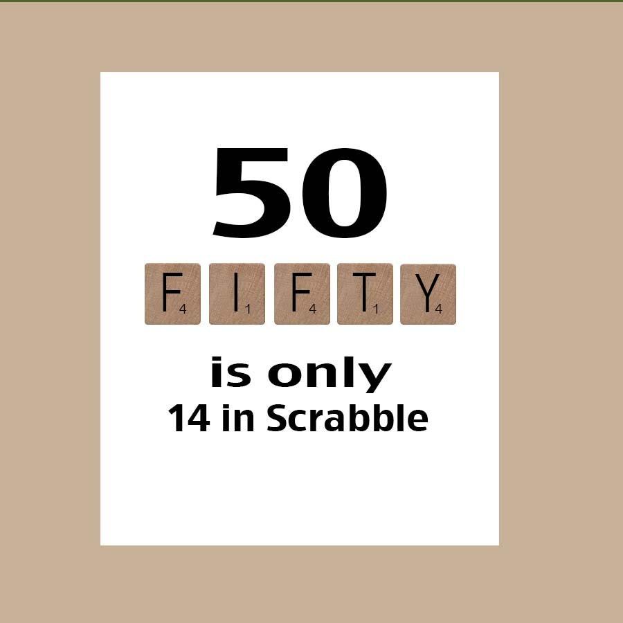 50th Birthday Card Milestone Scrabble The Big 50 1969