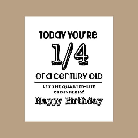 25th Birthday Card 14 Century Old Card Milestone Card 1982 Etsy