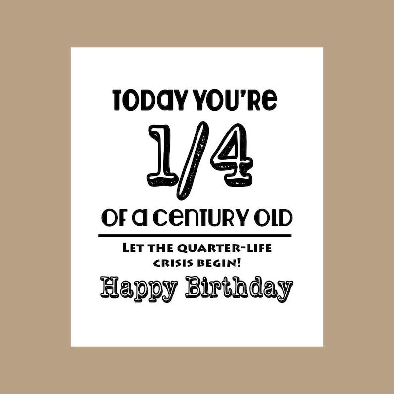 25th Birthday Card 1 4 Century Old Milestone 1983